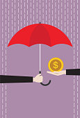Umbrella, Coin Bank, Currency, Gold, Coin, Rain