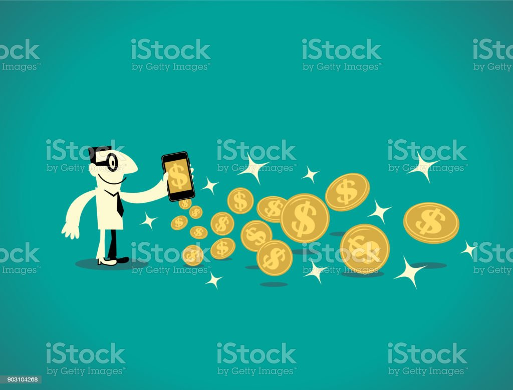 Businessman with a smart phone (mobile phone) and lots of gold dollar coins (virtual currency) vector art illustration