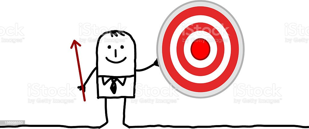 businessman with a target & arrow royalty-free stock vector art