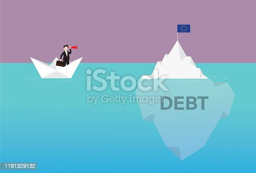 Government, Currency, Euro Flag, Crash, Iceberg, Debt, Europe, Crisis