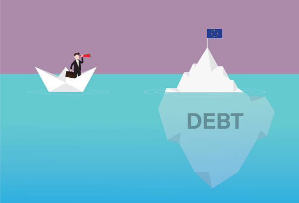 Businessman with a telescope on a paper boat looking EURO flag on the iceberg Government, Currency, Euro Flag, Crash, Iceberg, Debt, Europe, Crisis debt ceiling stock illustrations