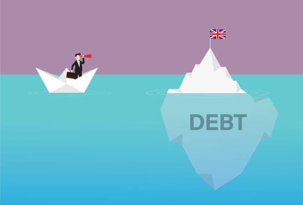 Businessman with a telescope on a paper boat looking UK flag on the iceberg Government, Currency, Euro Flag, Crash, Iceberg, Debt, British, Crisis debt ceiling stock illustrations