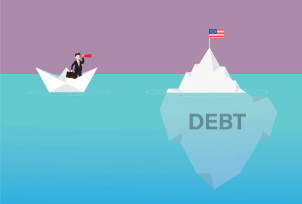 Businessman with a telescope on a paper boat looking US flag on the iceberg USA, Government, Currency, American Flag, Crash, Iceberg, Debt debt ceiling stock illustrations