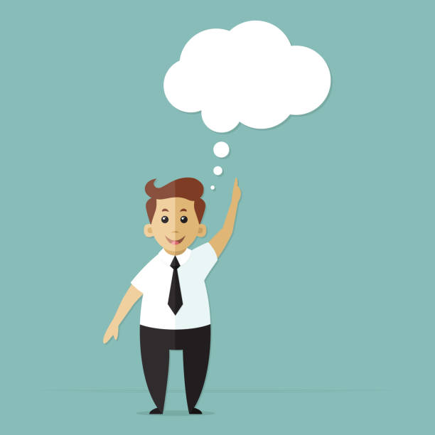 illustrazioni stock, clip art, cartoni animati e icone di tendenza di businessman with a thought bubble made of clouds. young guy manager at work in suit. vector illustration. flat design - dream