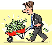 Vector illustration of a happy businessman carrying a red wheelbarrow full of money. Concept for wealth, investment, finance and economy, corruption, stock market exchange and capitalism.