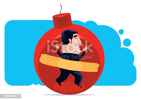 istock businessman with adhesive taped on big bomb 1254954511