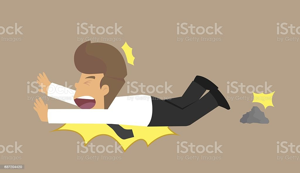 businessman with an anxious face stumble by a small rock vector art illustration