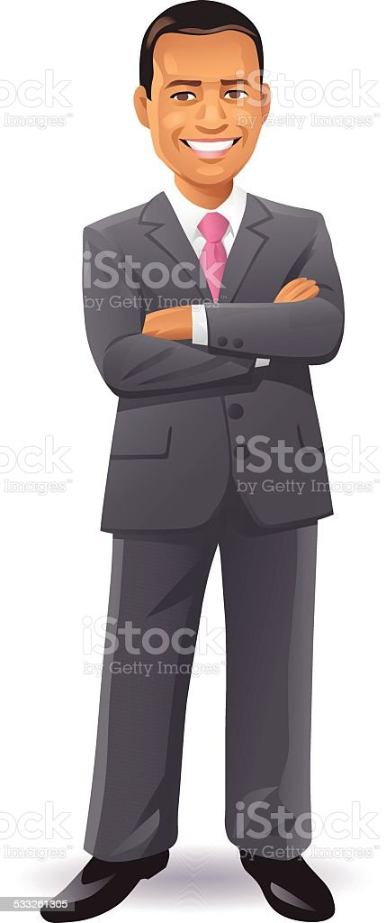 Businessman With Arms Crossed vector art illustration