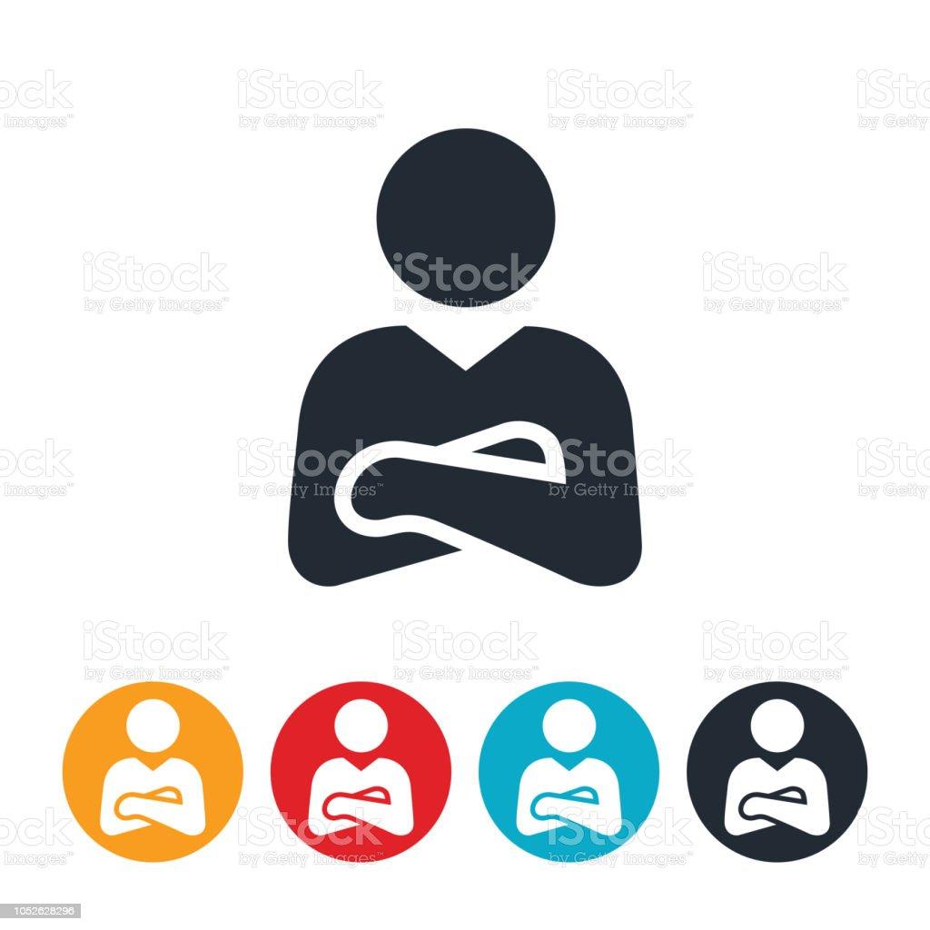 Empresario con los brazos doblados icono - ilustración de arte vectorial