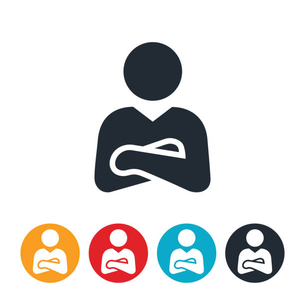 Businessman With Arms Folded Icon vector art illustration