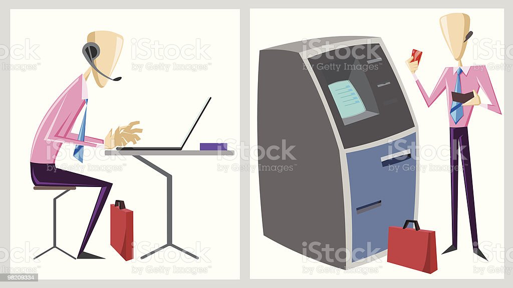 businessman with atm and laptop royalty-free businessman with atm and laptop stock vector art & more images of atm