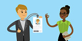 Happy caucasian businessman with badge or id card and african american woman checker, flat Vector illustration.