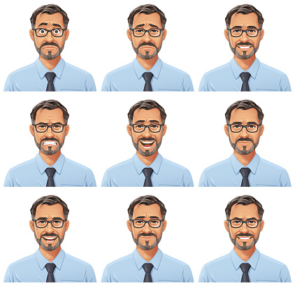 Businessman With Beard And Glasses Portrait- Emotions