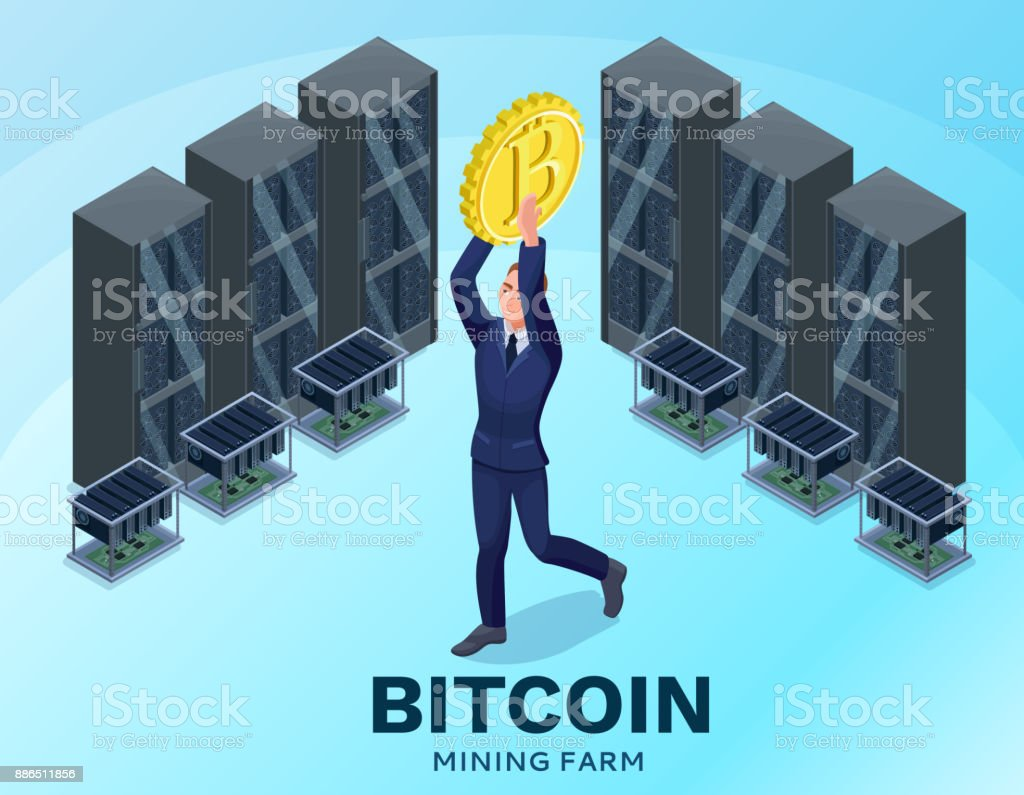 Businessman With Bitcoin Isolated Symbol Video Circuit And Server Computer Cryptocurrency Mining Concept
