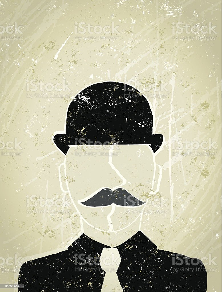 Businessman With Bowler Hat and Moustache, Movember royalty-free stock vector art
