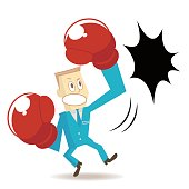 Businessman (boxer, man) with boxing glove (fist), punching (hitting, breaking) with a flush uppercut