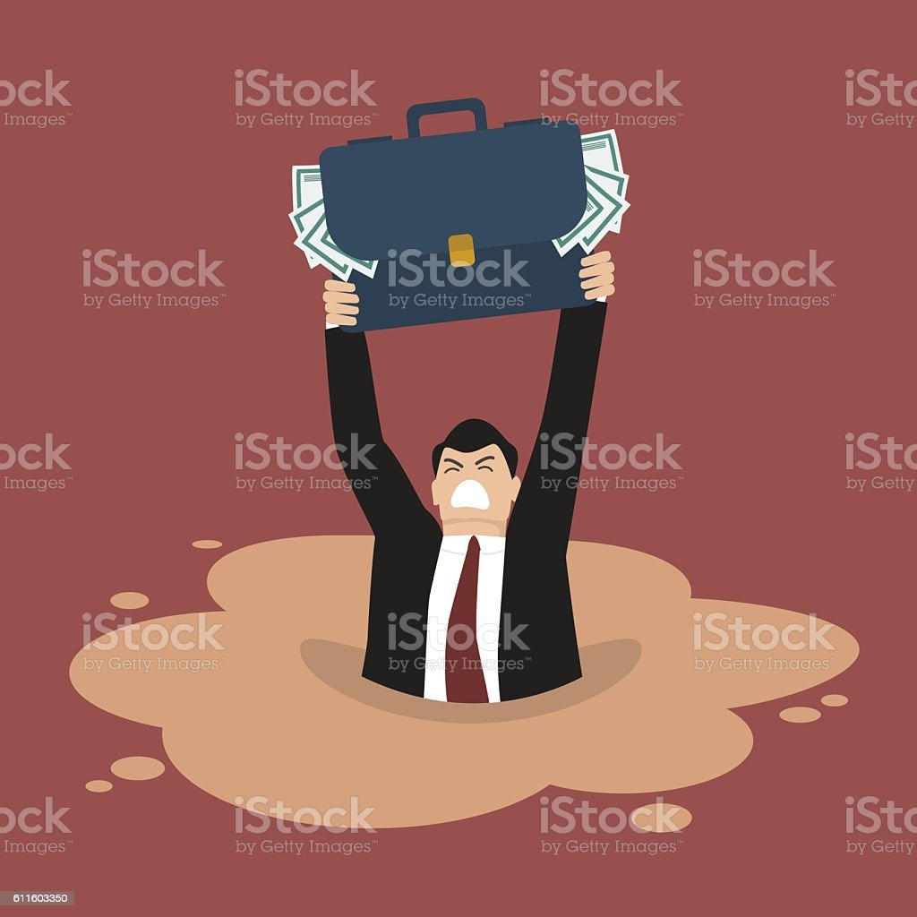 Businessman with briefcase full of money sinking in a quicksand vector art illustration