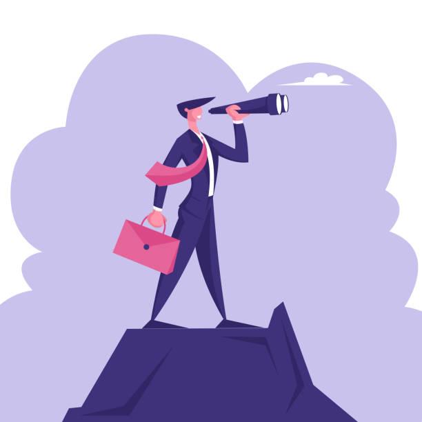 geschäftsmann mit aktentasche in hand stand auf berg top beobachten zu spyglass. business vision, recruitment mitarbeiter, business character visionary forecast prediction. cartoon flache vektor-illustration - menschliches körperteil stock-grafiken, -clipart, -cartoons und -symbole
