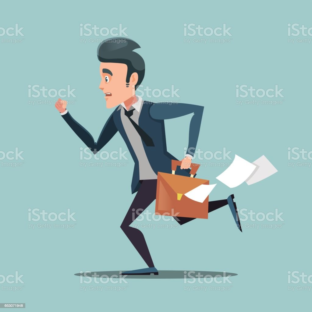 Businessman with Briefcase Late to Work vector art illustration