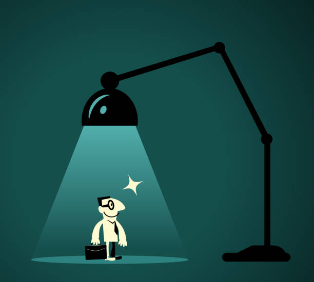 Businessman with briefcase standing in front of desk lamp (Spotlight) vector art illustration