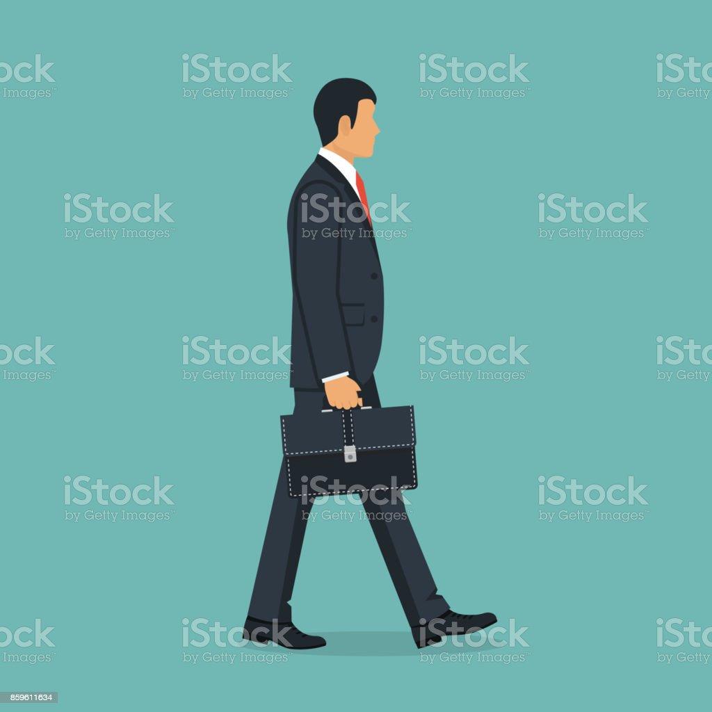 Homme d'affaires avec mallette à pied au travail. - Illustration vectorielle