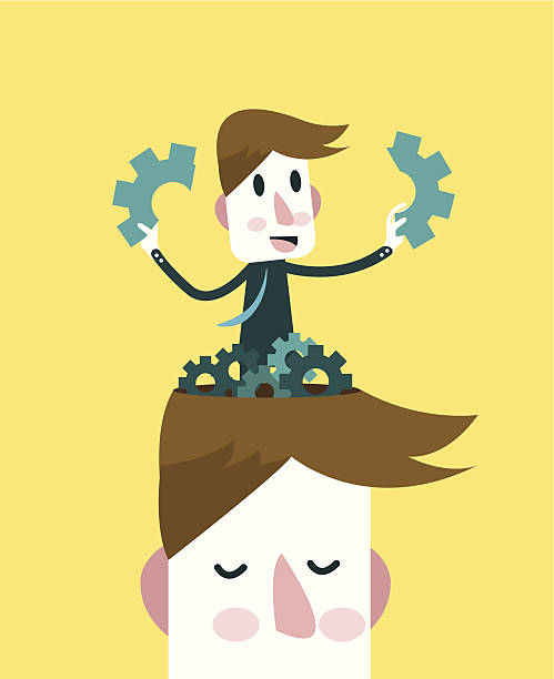 ビジネスマンがプロークンギアます。 - 精神保健専門家点のイラスト素材/クリップアート素材/マンガ素材/アイコン素材