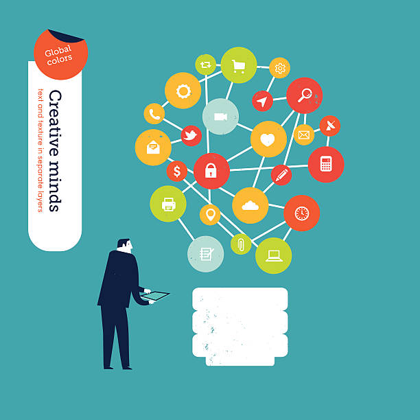 Businessman with bulb of icons vector art illustration