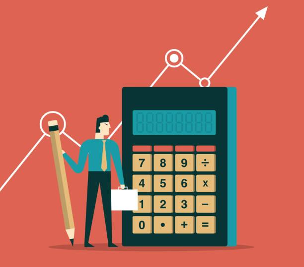 illustrazioni stock, clip art, cartoni animati e icone di tendenza di businessman with calculator banking accountant - calcolatrice