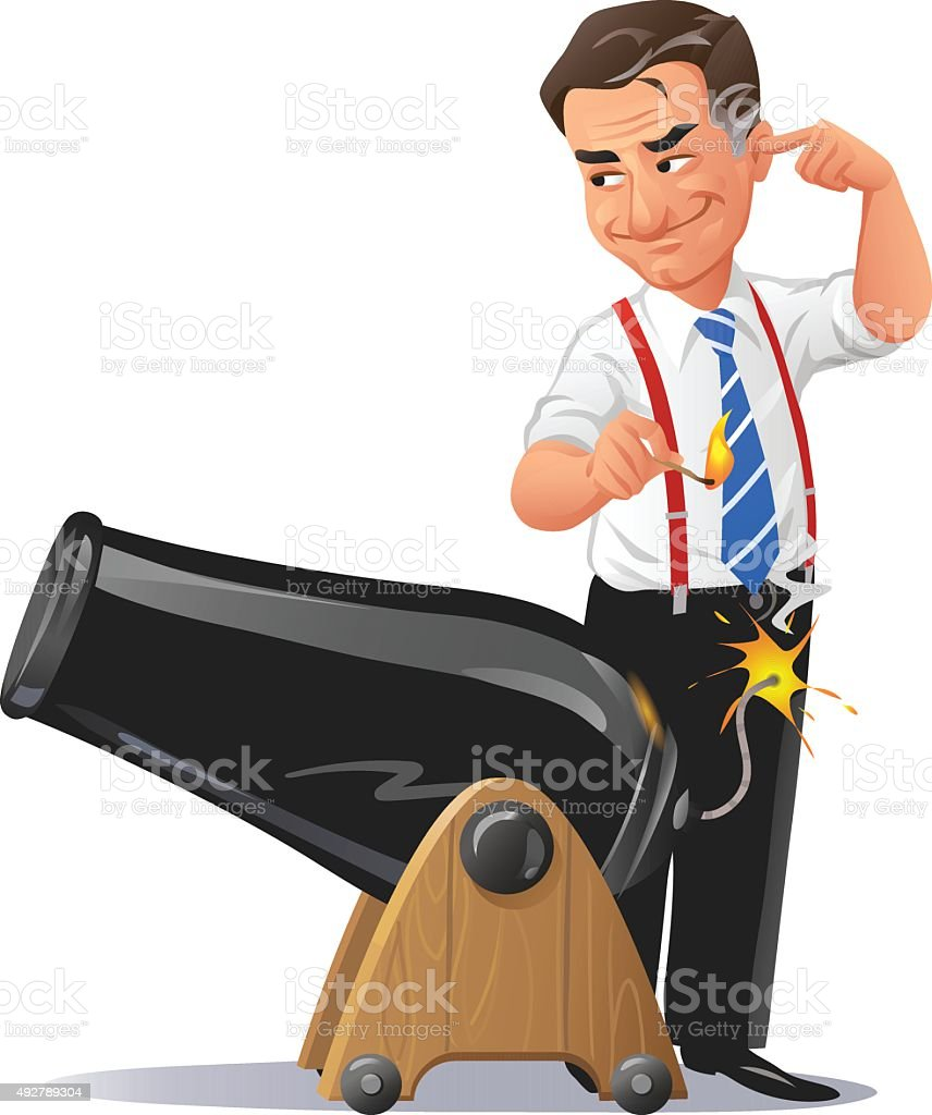 Businessman With Cannon Ready For Battle vector art illustration