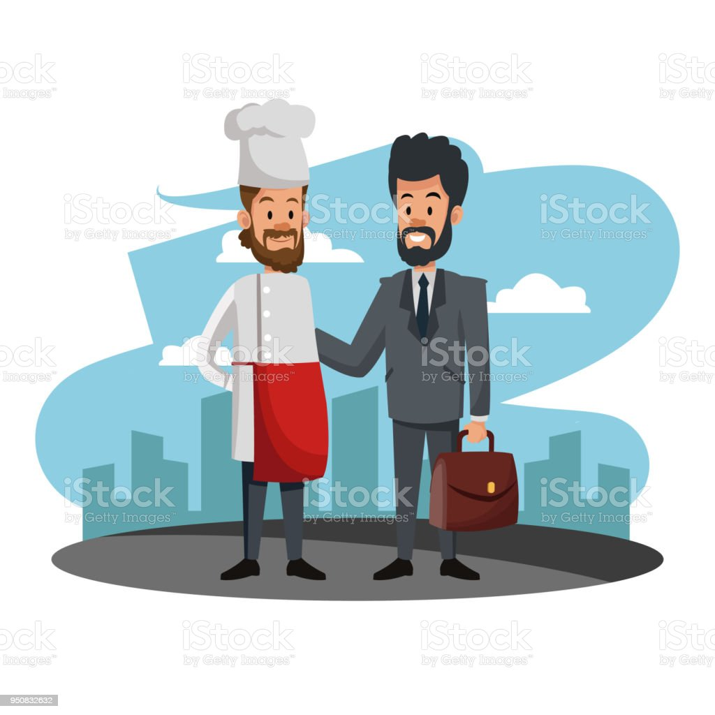 Businessman with chef cartoons vector art illustration