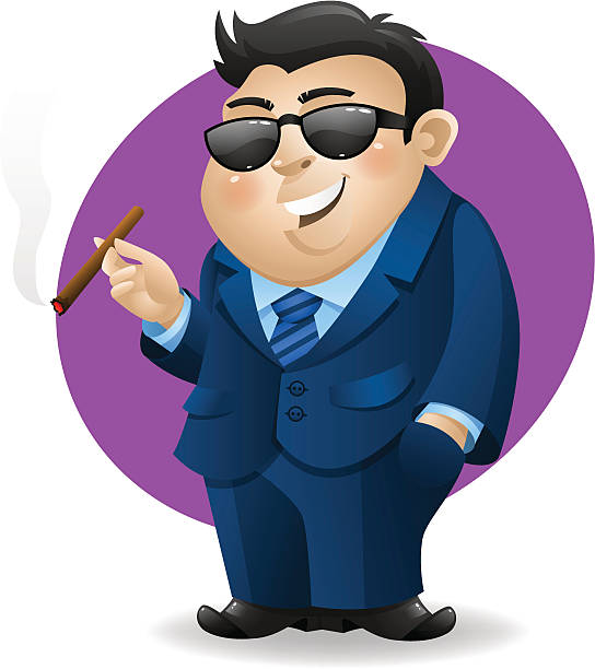 businessman with cigar - old man smoking cigar stock illustrations, clip art, cartoons, & icons