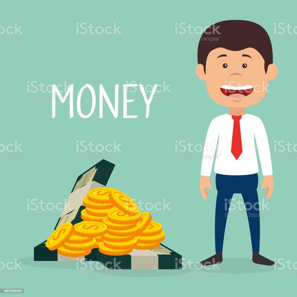 empresário com moedas e notas de dólares de dinheiro - Vetor de Adulto royalty-free