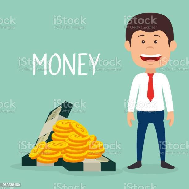 Vetores de Empresário Com Moedas E Notas De Dólares De Dinheiro e mais imagens de Adulto