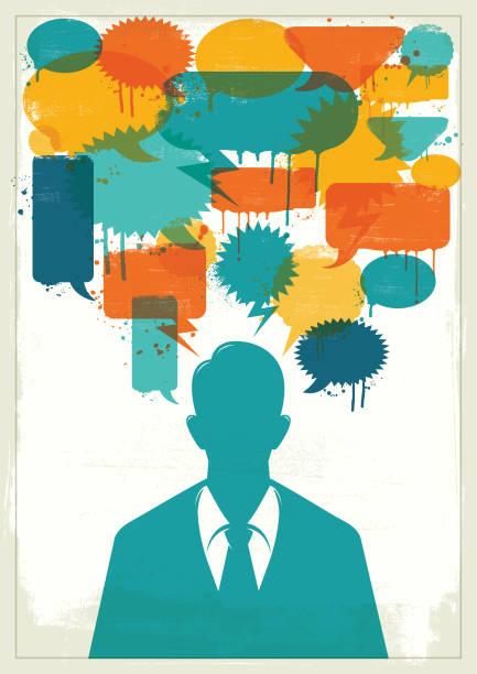 Businessman with colourful grunge speech bubbles vector art illustration
