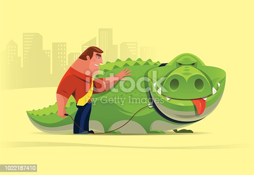 vector illustration of businessman with tame crocodile