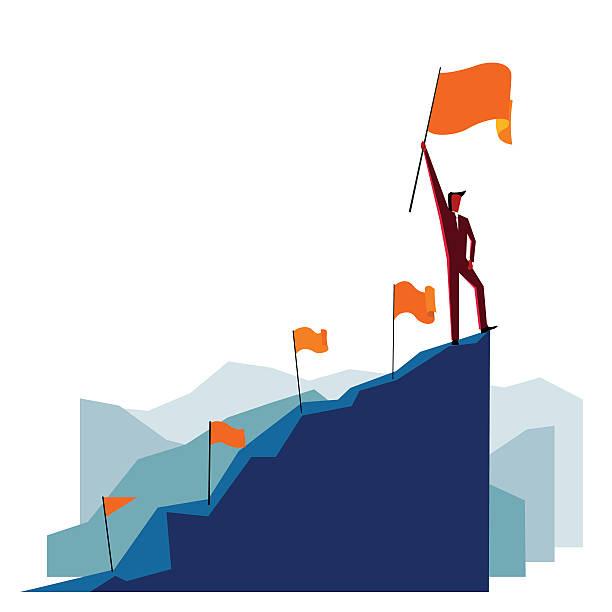 Businessman with flag on a Mountain peak vector art illustration