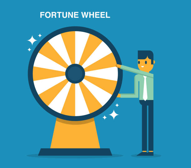 Businessman with fortune wheel for gambling vector art illustration