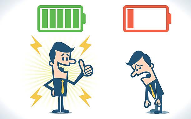 stockillustraties, clipart, cartoons en iconen met businessman with full and low battery - vermoeidheid