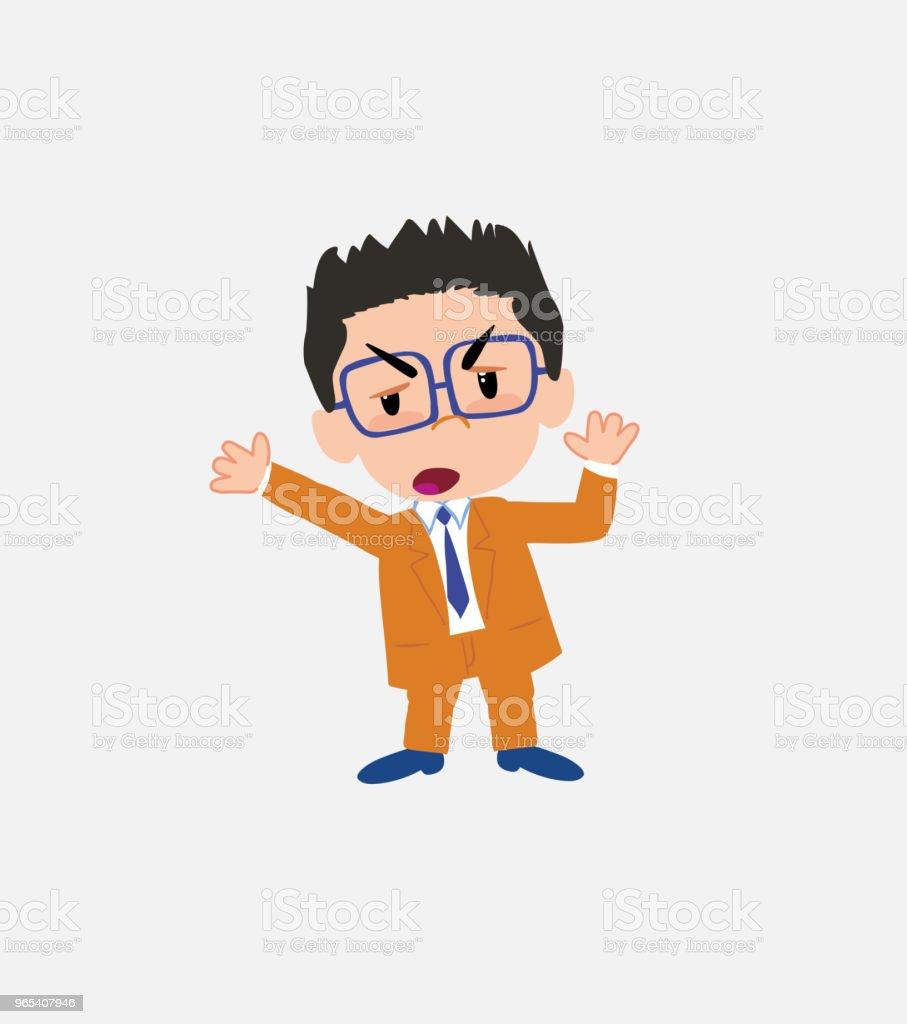 Businessman with glasses argues something with a gesture of discontent. businessman with glasses argues something with a gesture of discontent - stockowe grafiki wektorowe i więcej obrazów bank royalty-free
