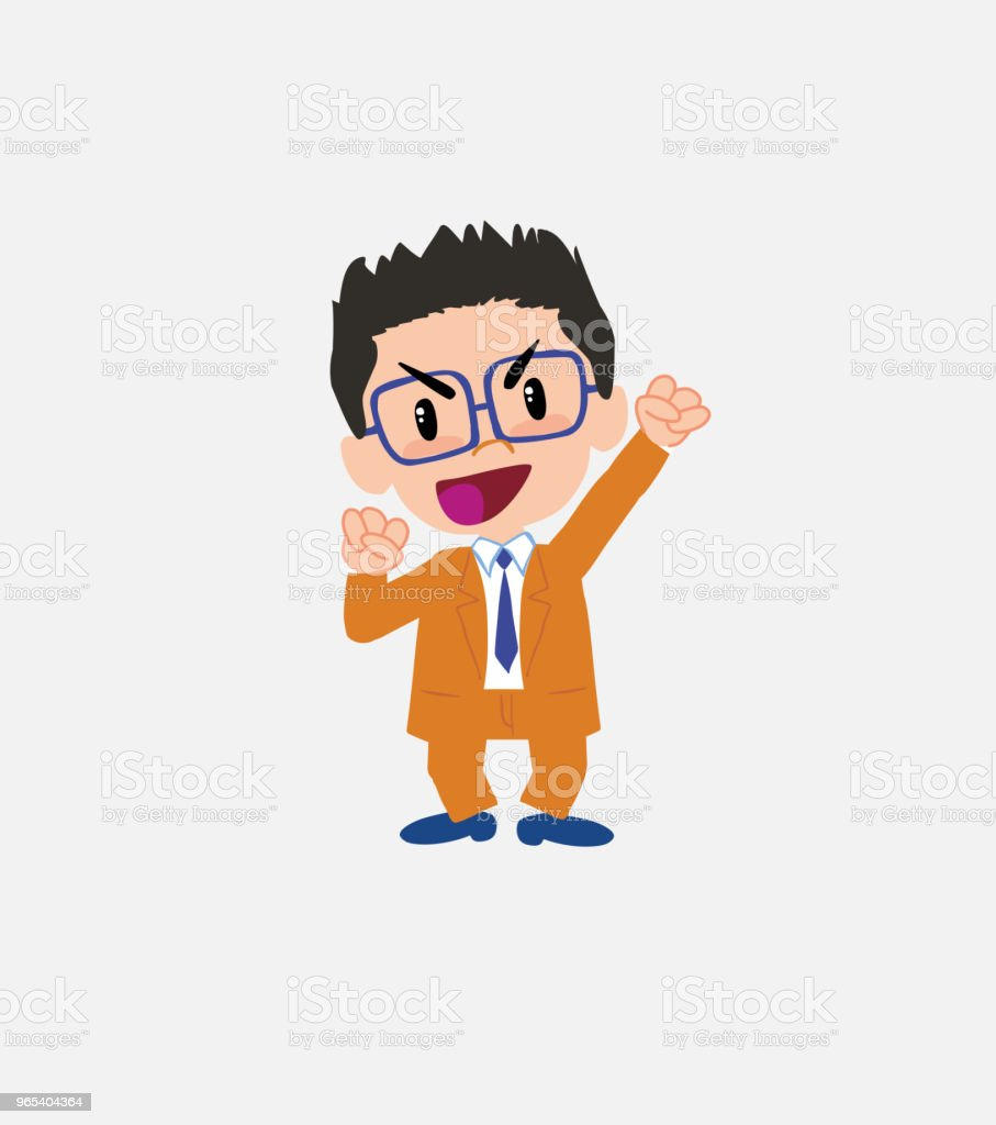 Businessman with glasses cheering enthusiastically. royalty-free businessman with glasses cheering enthusiastically stock vector art & more images of adult