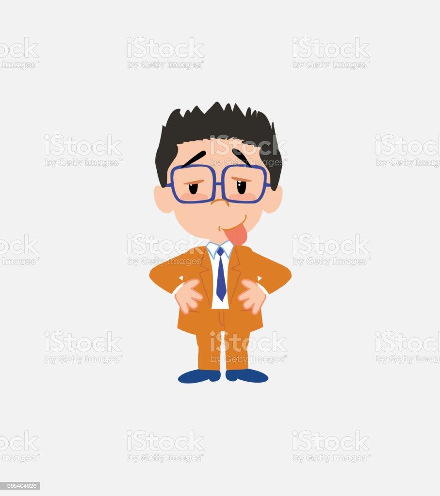 Businessman with glasses in waiting attitude with funny expression. businessman with glasses in waiting attitude with funny expression - stockowe grafiki wektorowe i więcej obrazów bank royalty-free