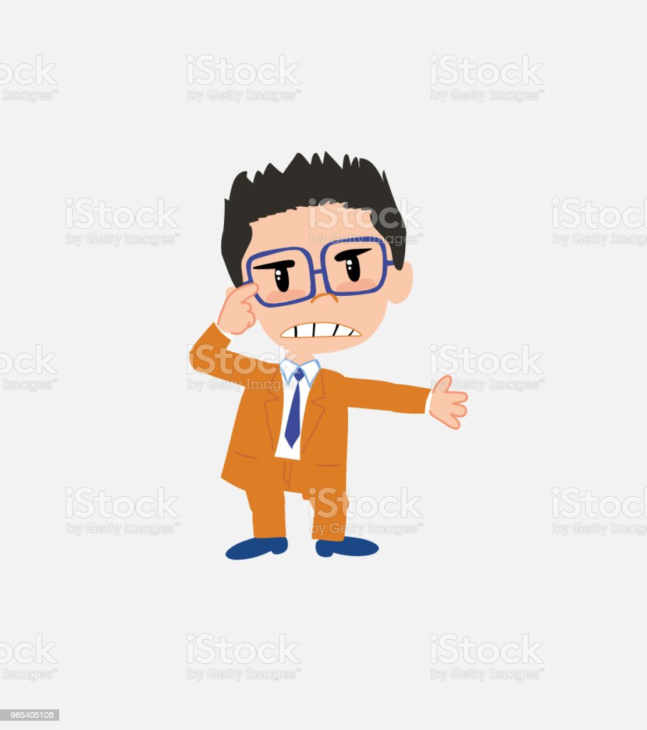 Businessman with glasses , is angry and points his head with his index finger. royalty-free businessman with glasses is angry and points his head with his index finger stock vector art & more images of adult