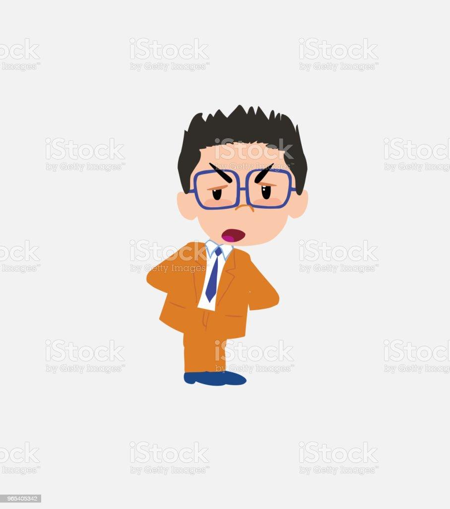 Businessman with glasses is slightly angry. businessman with glasses is slightly angry - stockowe grafiki wektorowe i więcej obrazów bank royalty-free