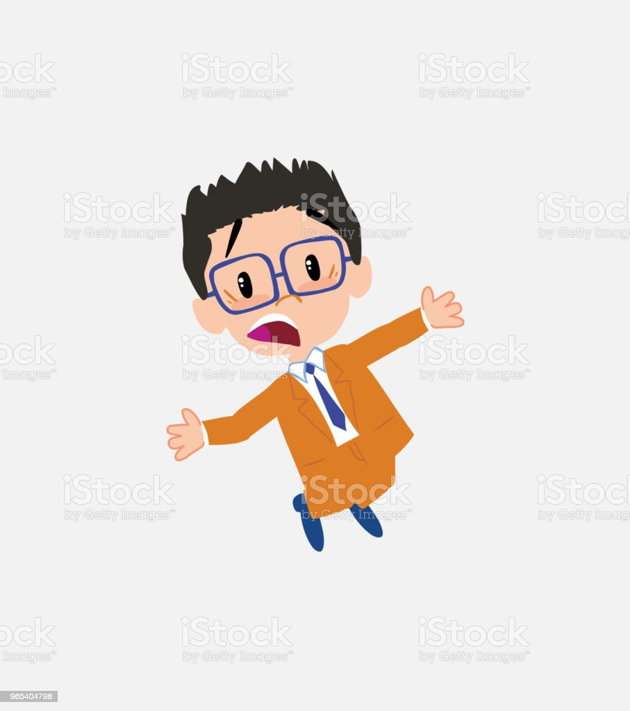 Businessman with glasses jumping terrified. royalty-free businessman with glasses jumping terrified stock illustration - download image now