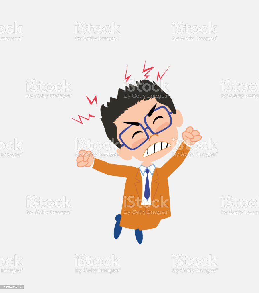 Businessman with glasses jumps angry. royalty-free businessman with glasses jumps angry stock vector art & more images of adult