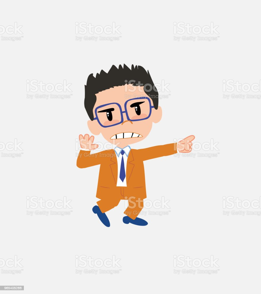 Businessman with glasses points angrily to his left. royalty-free businessman with glasses points angrily to his left stock vector art & more images of adult