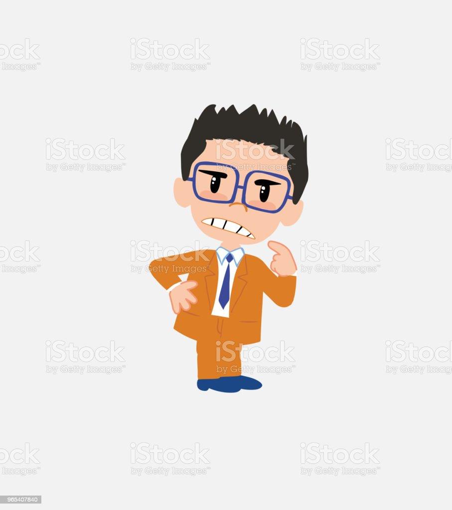 Businessman with glasses ponders, something angry. businessman with glasses ponders something angry - stockowe grafiki wektorowe i więcej obrazów bank royalty-free