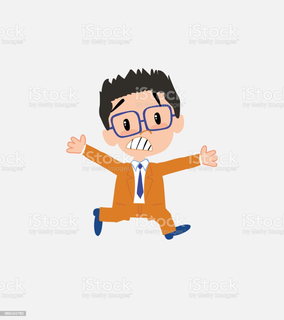 Businessman with glasses running terrified. royalty-free businessman with glasses running terrified stock vector art & more images of adult