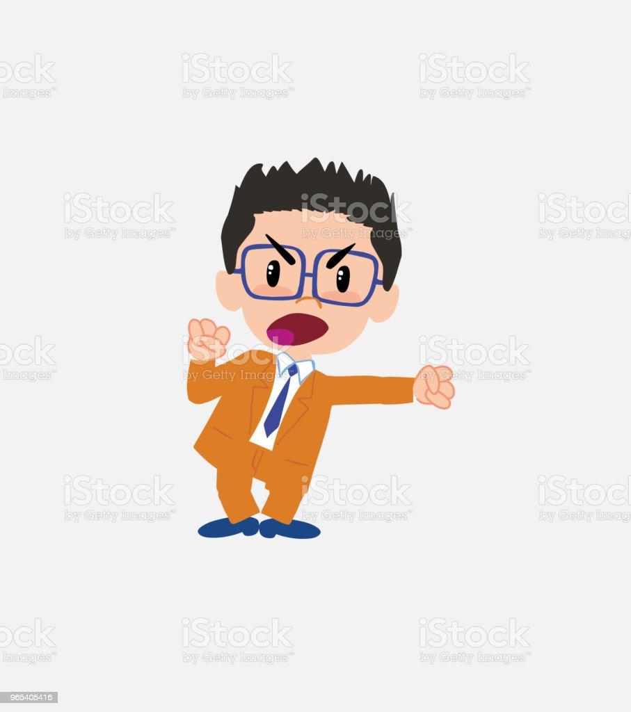 Businessman with glasses screams very angry. businessman with glasses screams very angry - stockowe grafiki wektorowe i więcej obrazów bank royalty-free