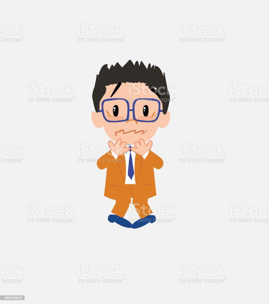 Businessman with glasses shrugged in fear. businessman with glasses shrugged in fear - stockowe grafiki wektorowe i więcej obrazów bank royalty-free